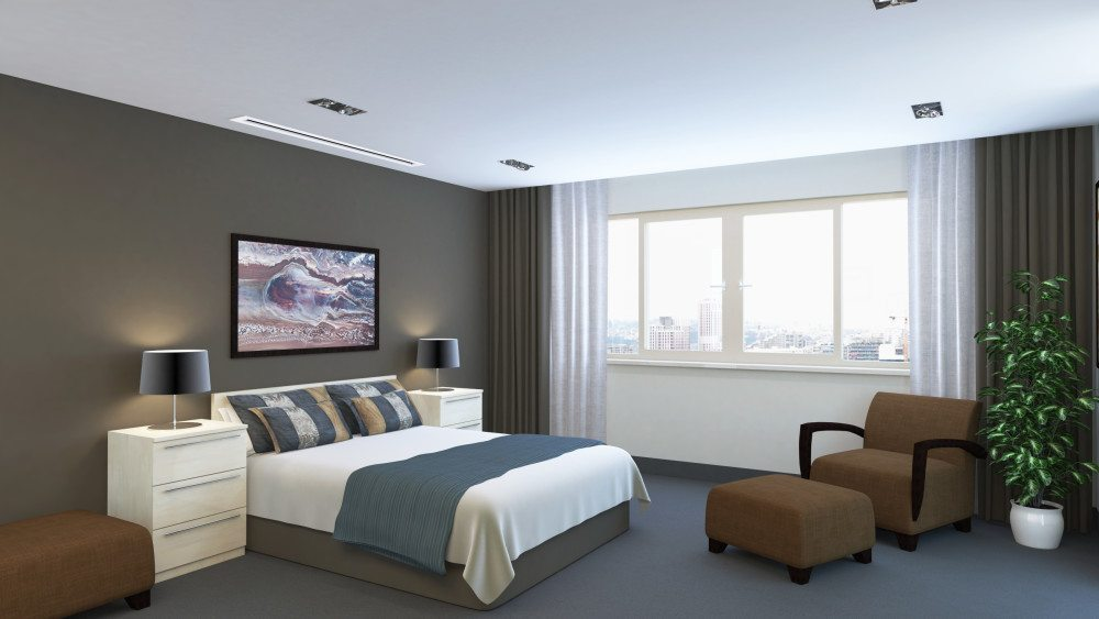 6eb96584aef Ducted Air Conditioner Installed in a bedroom Bedroom with long narrow  grilles