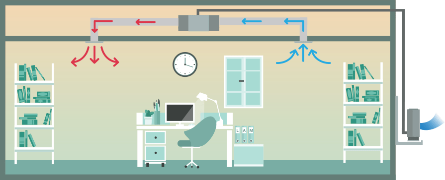 medical office, ducted air conditioning system, single-split (heating), illustration