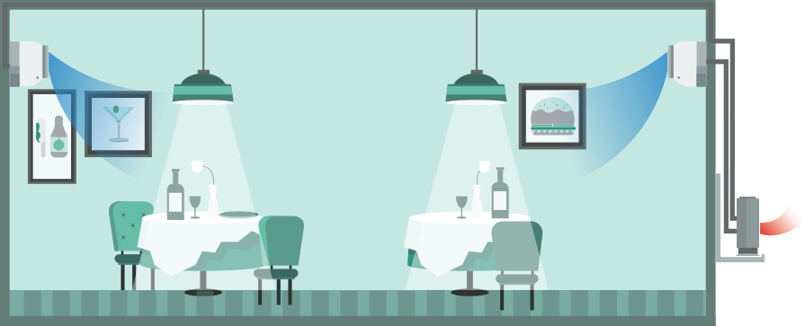 Wall mounted air conditioner in a restaurant, twin-split (heating), illustration