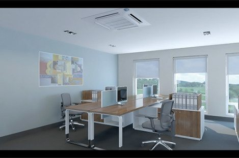 White Ceiling Mounted Cassette Air Conditioning Unit in an Office