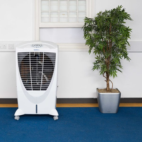Winter-i evaporative cooler in an office window open